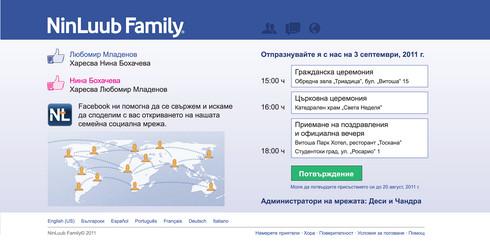 Tekama сватба в стил Facebook